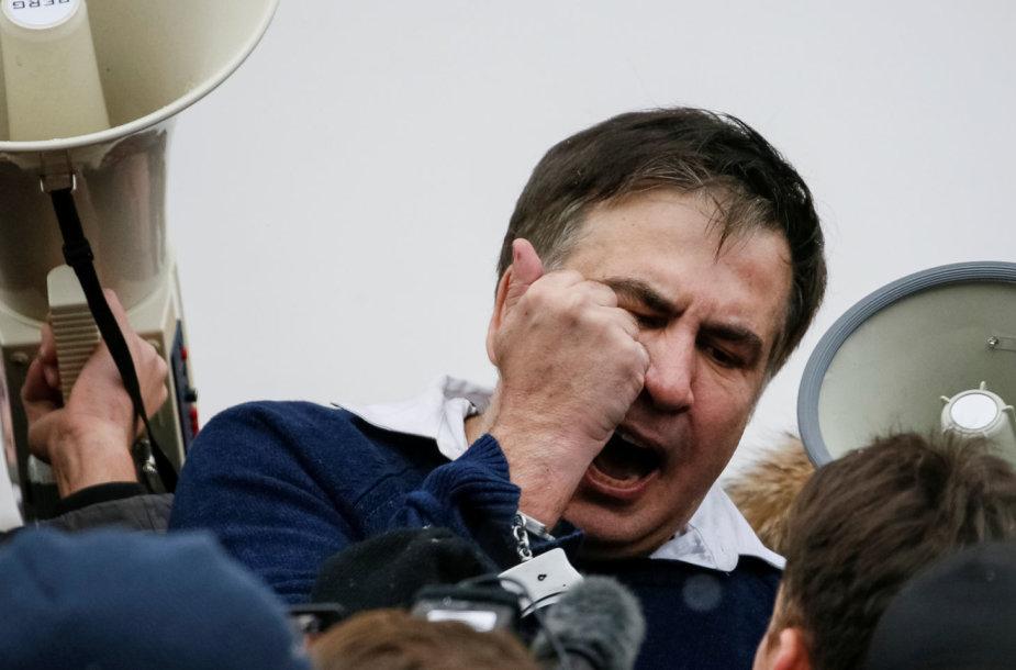 Protestuotojų išvaduotas Michailas Saakašvilis