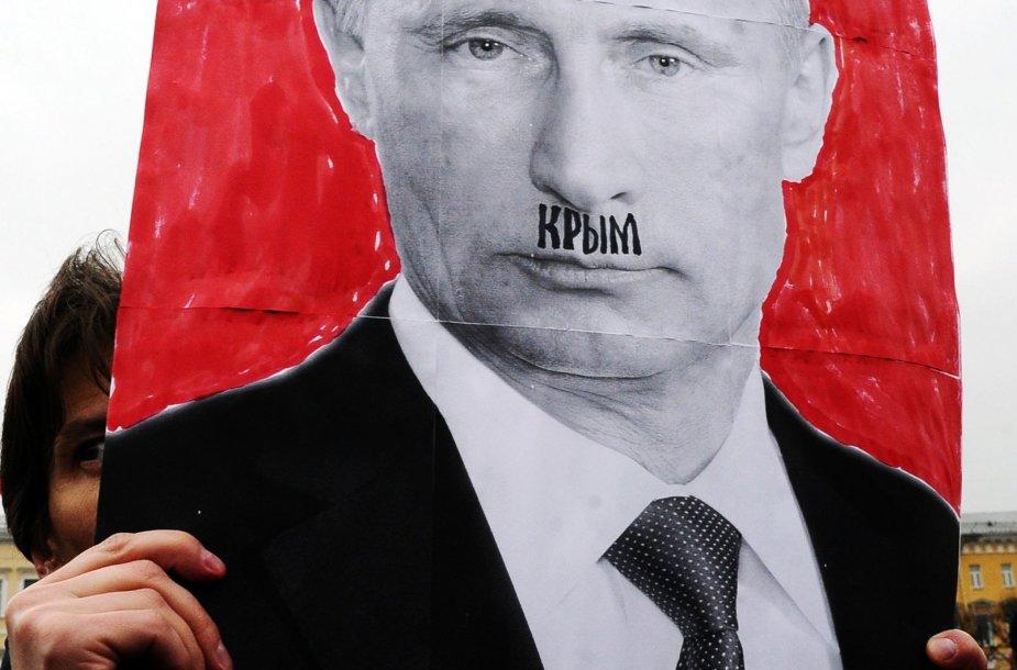 Vladimiras Putinas piešinyje vaizduojamas kaip II pasaulinio karo vokiečių diktatorius Adolfas Hitleris