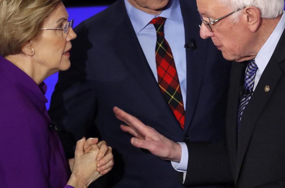 Elizabeth Warren ir Bernie Sandersas