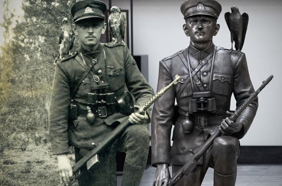 Kairėje – Gražinos Pigagaitės 1947 m. fotografuotas Adolfas Ramanauskas-Vanagas su vanagėliais. Dešinėje – pagal šią nuotrauką skulptoriaus Gintauto Lukošaičio sukurta ir liejimo meistro Tomo Vosyliaus nulieta bronzinė skulptūra