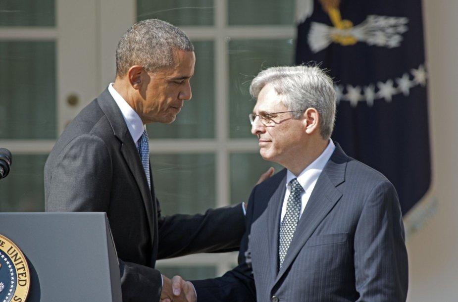 Barackas Obama sveikina Merricką Garlandą