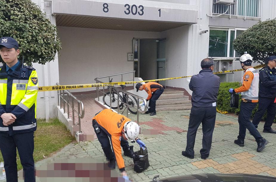 Pietų Korėjos policija nusikaltimo vietoje