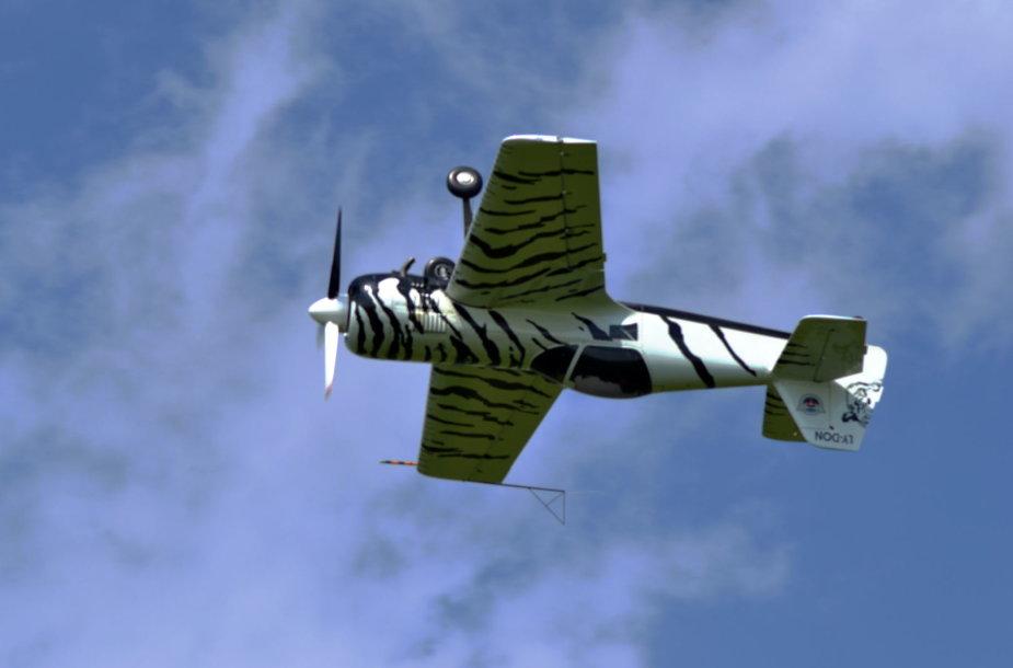 """Eltonas Meleckis ir jo pilotuojamas """"Baltasis tigras"""" SU-26."""