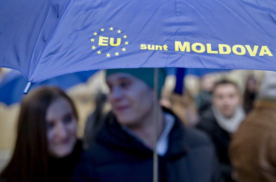 Moldovos narystės ES rėmėjai Kišiniove