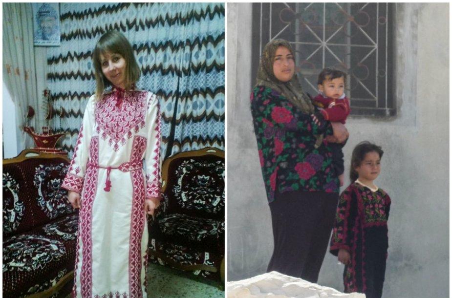 Elena Valainytė tradiciniu palestiniečių apdaru (kairėje). Palestiniečių šeima
