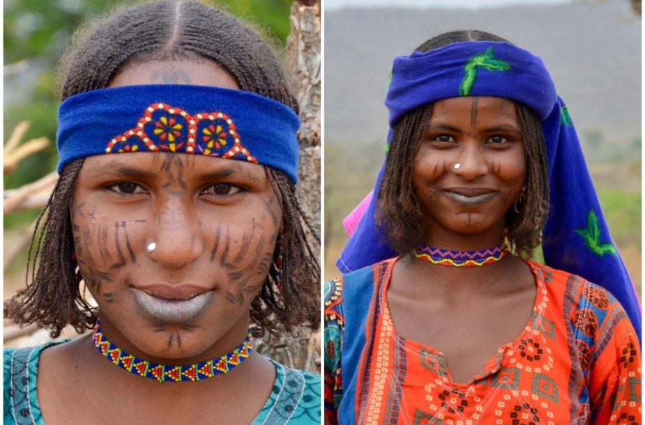 Mbororo genties moterų portretai