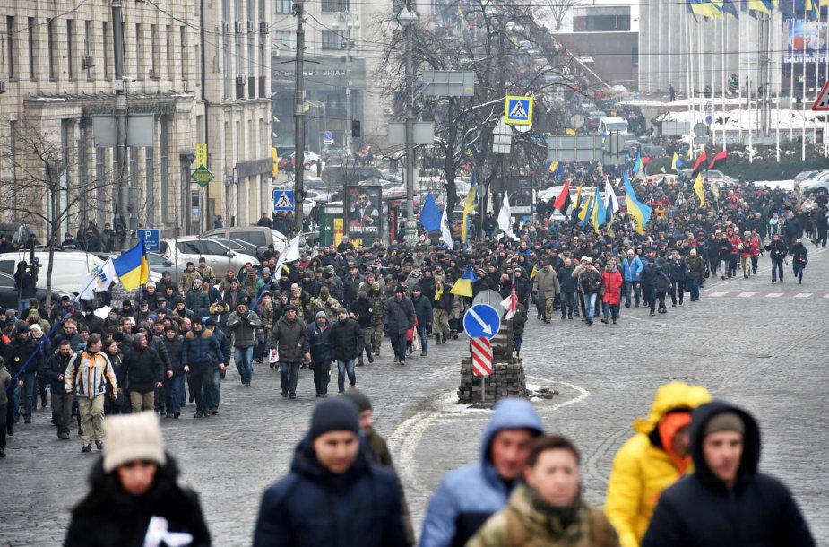 Keli tūkstančiai M.Saakašvilio šalininkų žygiavo Kijevo gatvėmis