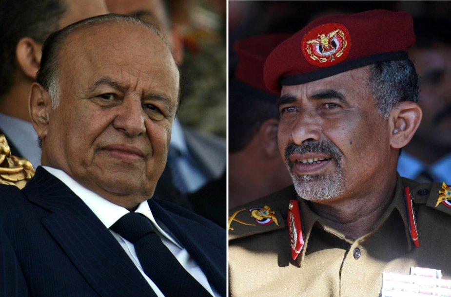 Jemeno prezidentas Abd Rabbu Mansouras Hadi  ir gynybos ministras Mahmud al Subaihi