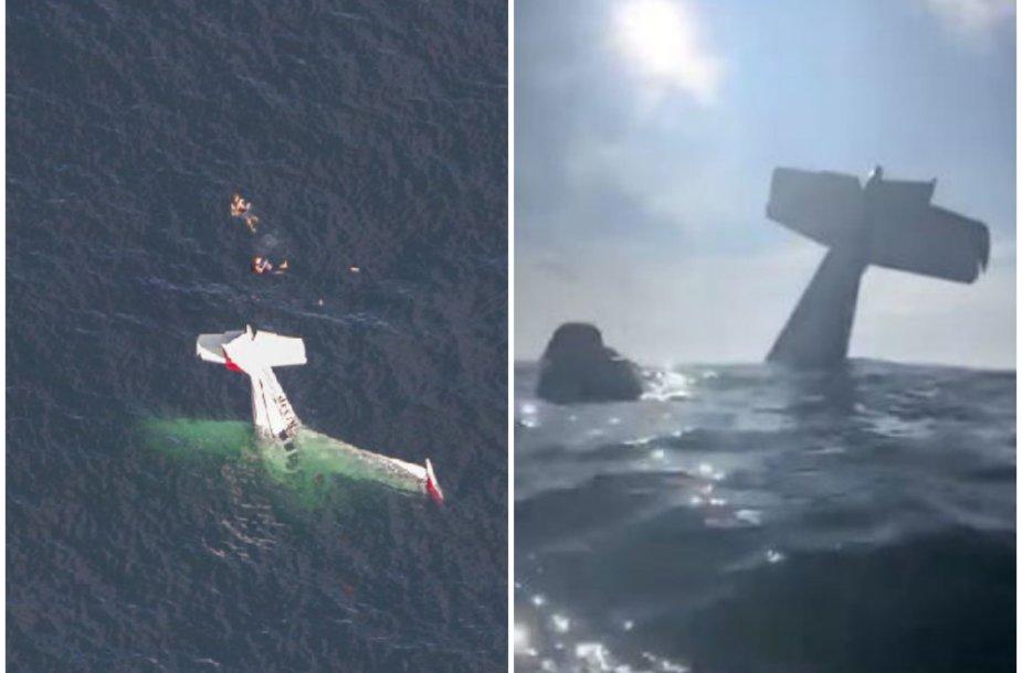 Lakūnas nufilmavo savo išgelbėjimą Ramiajame vandenyne