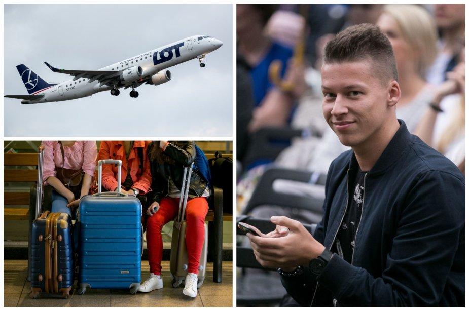 Lėktuvas, kelionių lagaminai, Rimvydas Širvinskas-Makalius
