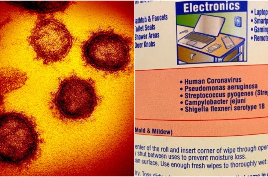 Vaizdo įraše teigiama, kad užrašas ant dezinfekcinio purškalo flakono įrodo, kad COVID-19 protrūkis – suplanuotas