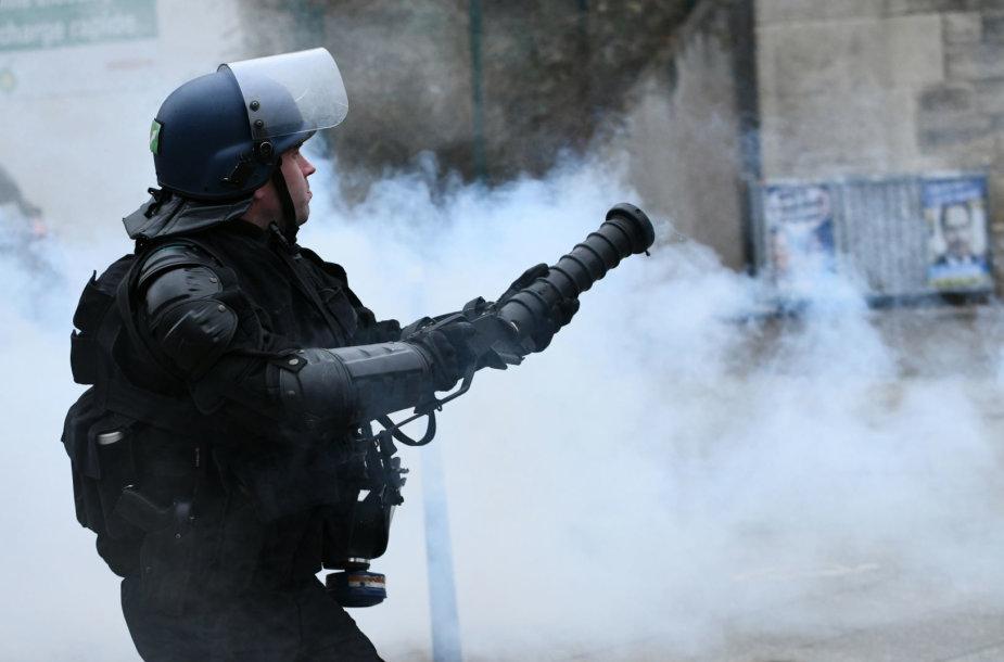 """Paryžiuje policija panaudojo ašarines dujas prieš """"geltonąsias liemenes"""""""