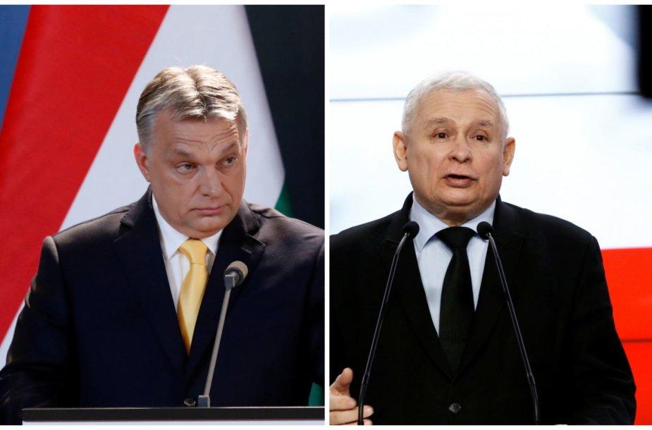 Vengrijos premjeras Viktoras Orbanas ir Lenkijos valdančiųjų lyderis Jaroslawas Kaczynskis