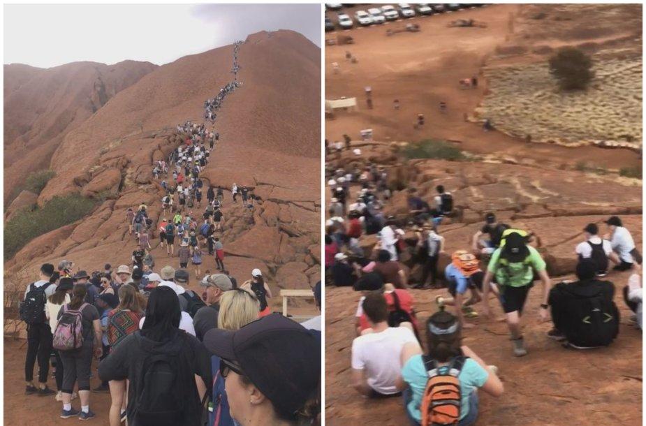Likus kelioms savaitėms iki Uluru uždarymo, žmonės stovi kilometro ilgio eilėse