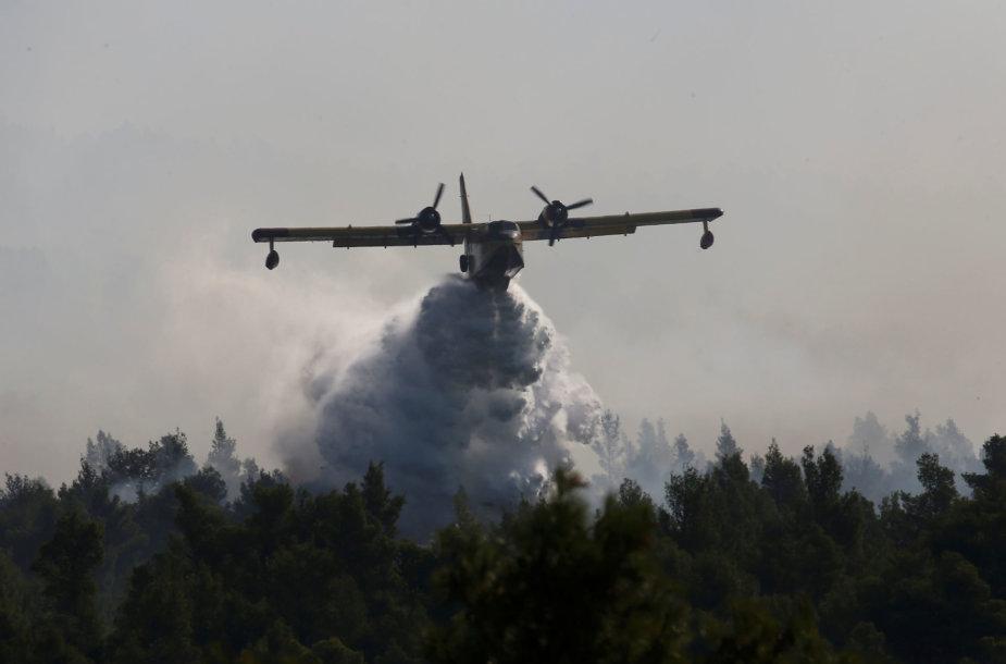 Graikijoje priešgaisriniai orlaiviai toliau gesina liepsnojančius Eubojos miškus