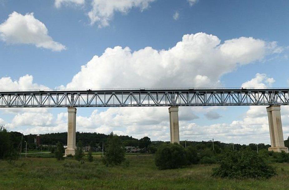 Lyduvėnų geležinkelio tilto panoraminis vaizdas