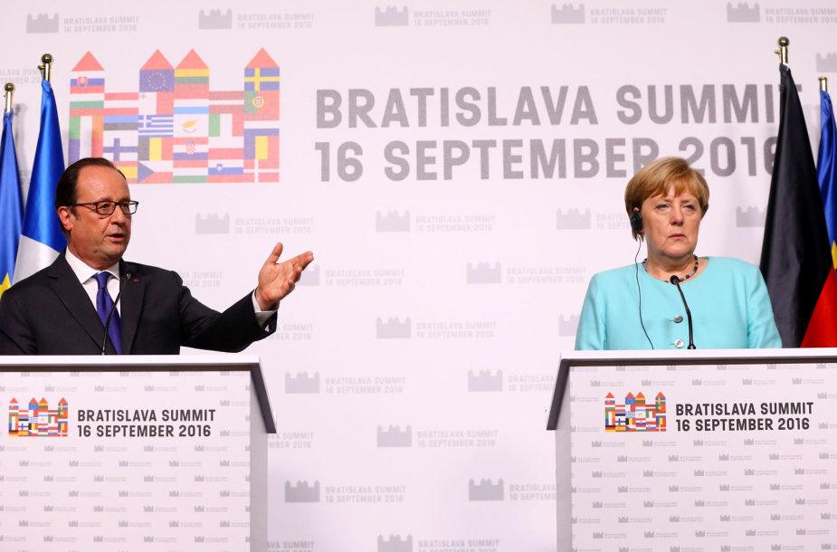 Francois Hollande'as ir Angela Merkel
