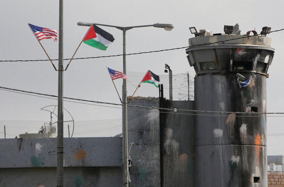 JAV ir Palestinos vėliavos
