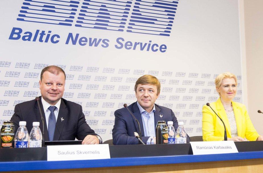 Saulius Skvernelis, Ramūnas Karbauskis ir Dovilė Šakalienė