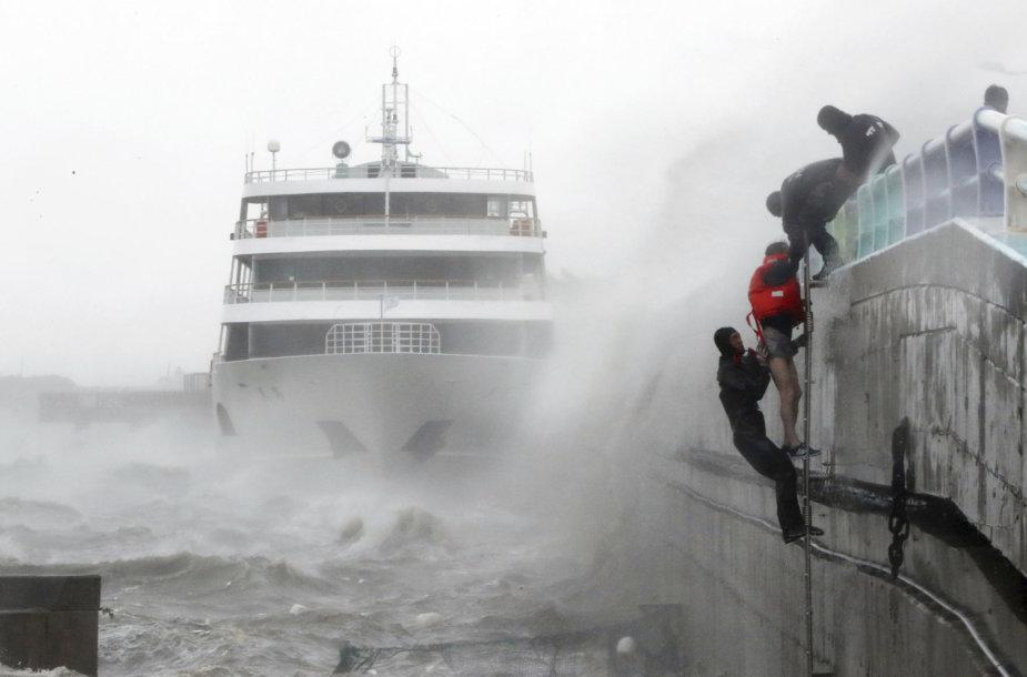 """Prie Japonijos artėja galingas taifūnas """"Chaba"""""""