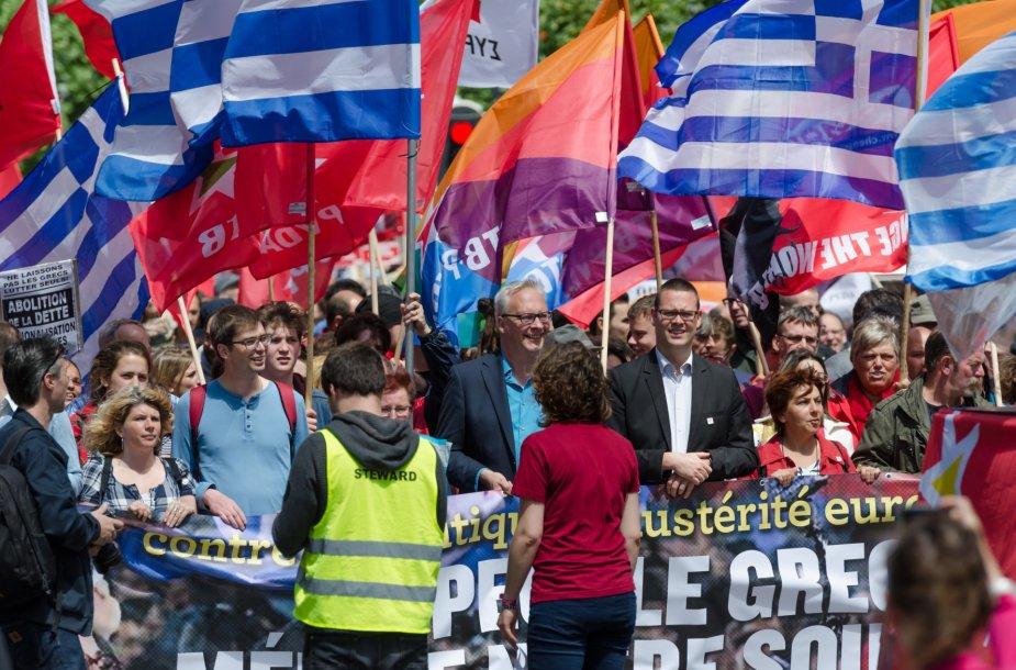 Solidarumo su Graikija demonstracija Briuselyje