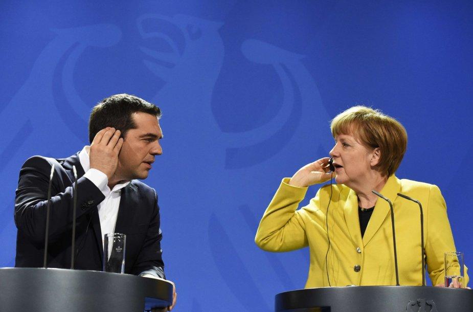 Aleksis Cipras ir Angela Merkel.