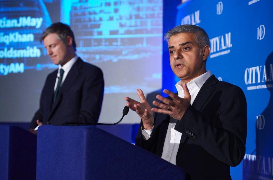 Populiariausi kandidatai Londono mero rinkimuose S.Khanas ir Z.Goldsmithas.