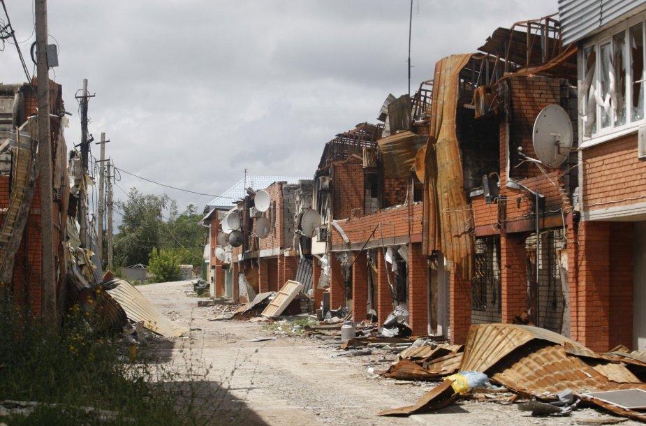 Sugriauti namai Širokine, Ukrainoje