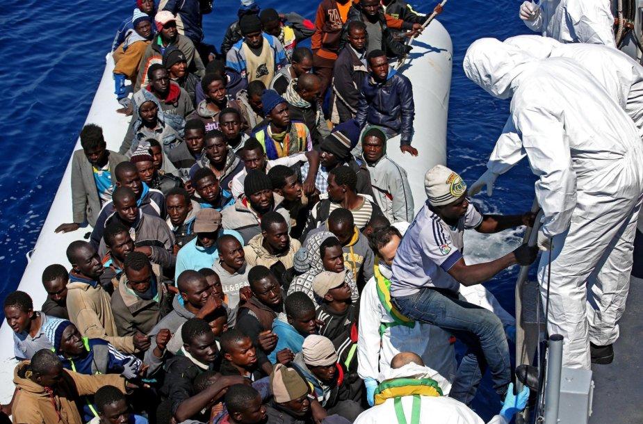 Libijos migrantai.