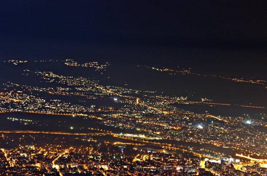 Naktinė Skopjė panorama