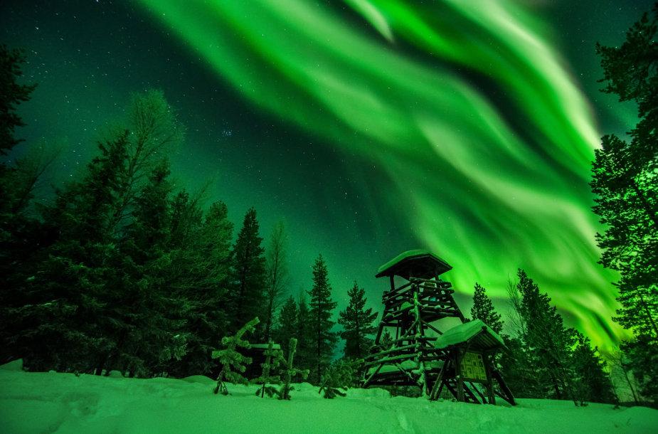Laplandijoje 2017-uosius sutikę lietuviai išvydo ir įamžino nuostabias Šiaurės pašvaistes