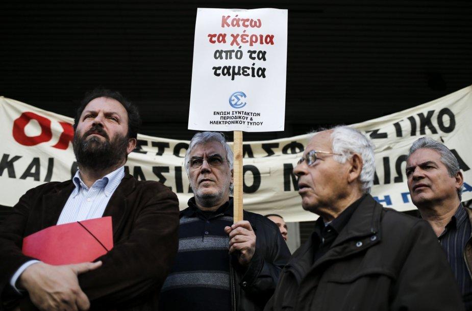 Protestuojantys Graikijos žurnalistai