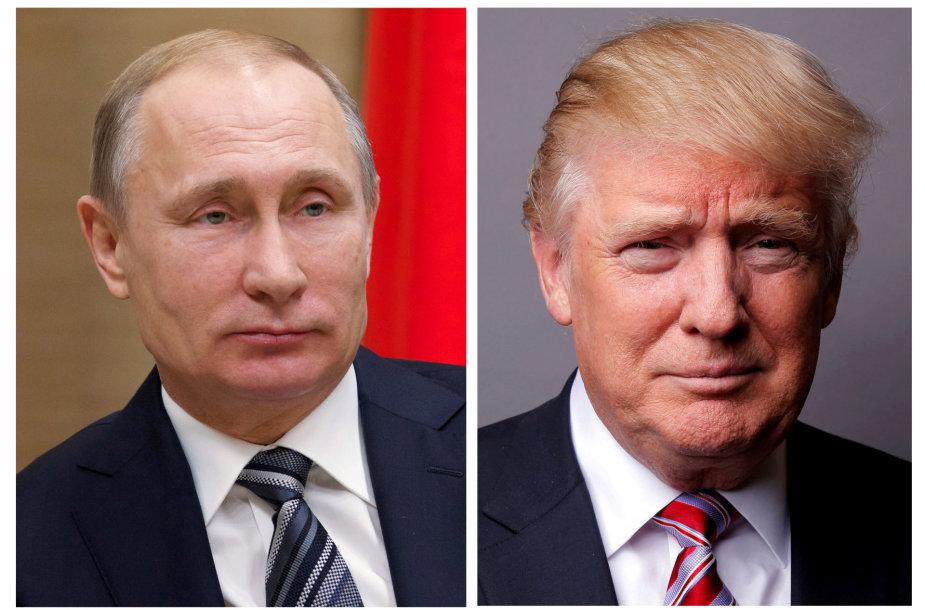 Vladimiras Putinas ir Donaldas Trumpas.