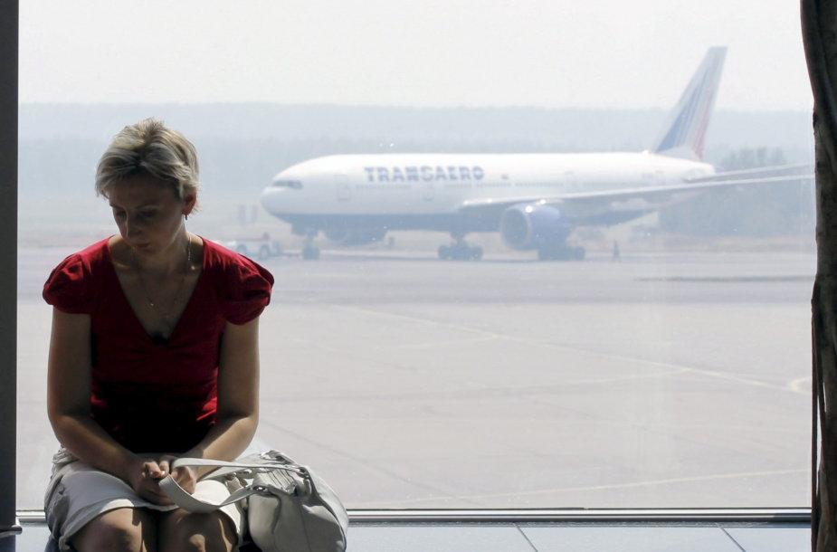 """""""Transaero"""" lėktuvas Maskvos Domodedovo oro uoste"""