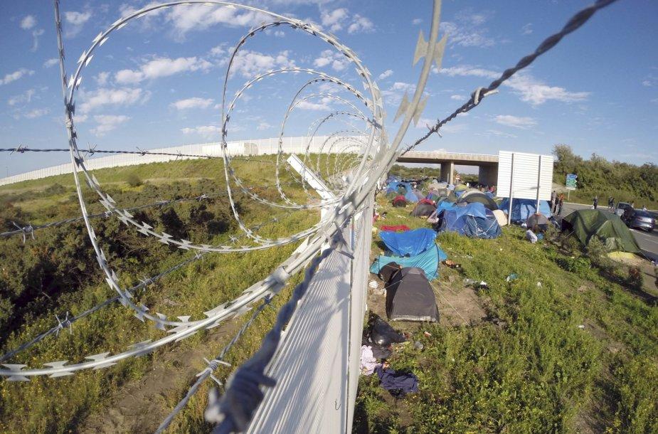 """Migrantai """"Naujosiose džiunglėse"""" – stovyklavietėje prie Kalė Prancūzijoje"""