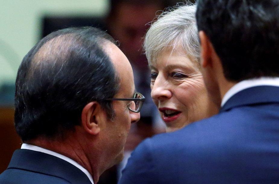 Francois Hollande'as ir Theresa May