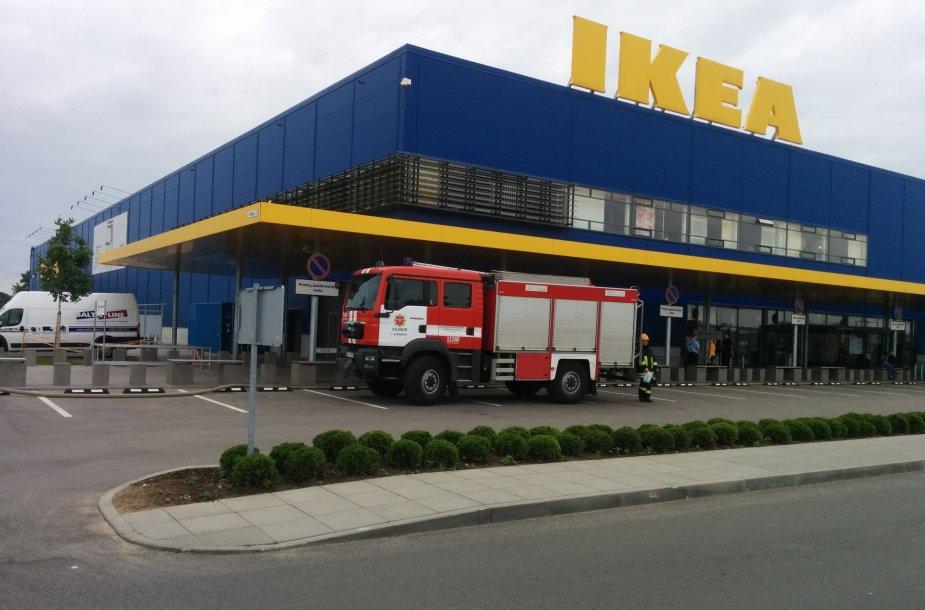 """Priešgaisrinės pratybos prekybos centre """"Ikea"""""""