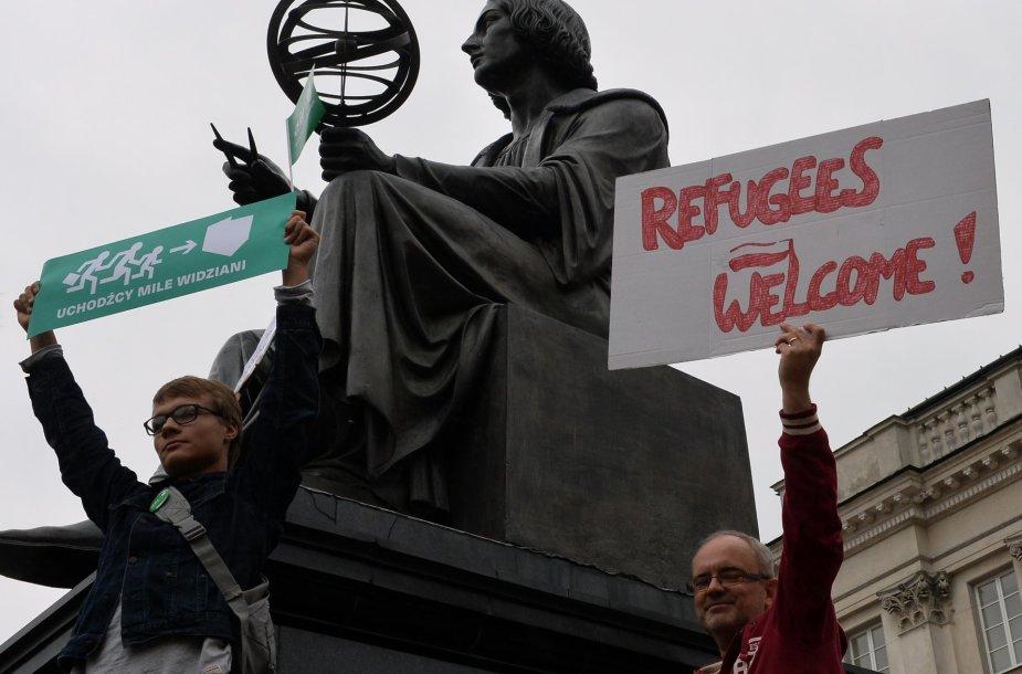 Protesto Varšuvoje akimirka