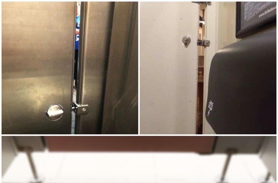 Kodėl JAV tualetuose yra plyšiai tualetų kabinose?