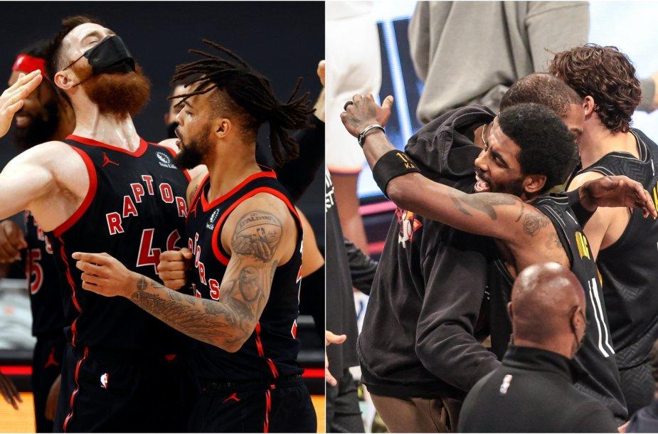 """""""Raptors"""" (kairėje) ir """"Nets"""" krepšininkų džiaugsmas po dramatiškų pergalių"""