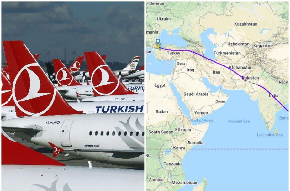 """""""Turkish Airlines"""" skrydžiai į Balį per Irano oro erdvę"""