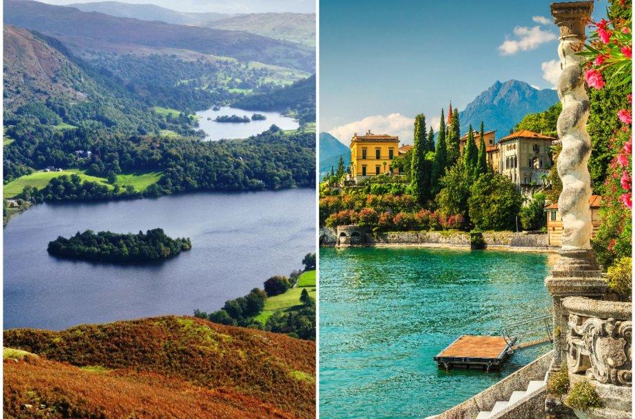 Ežerų kraštas Anglijoje ir Komo ežeras Italijoje
