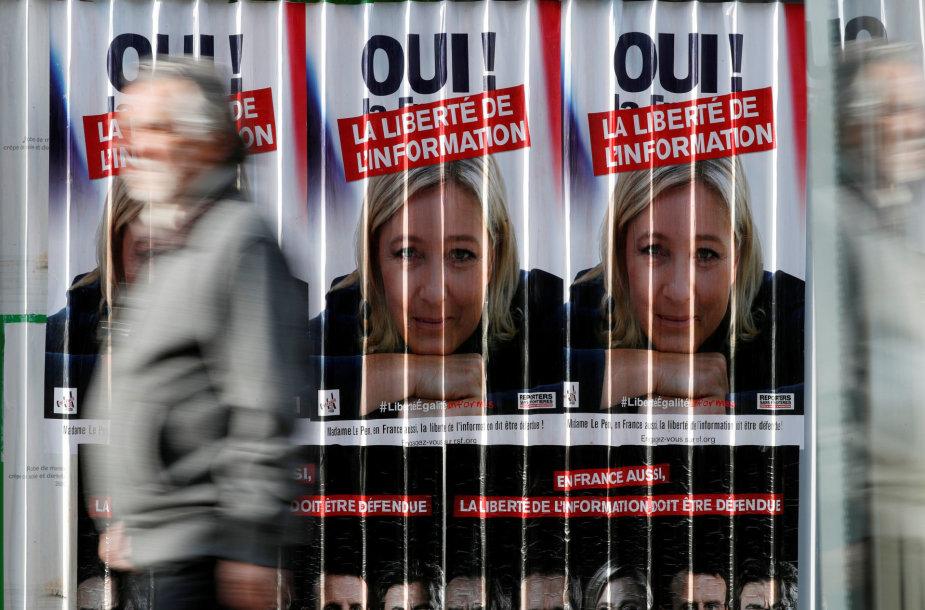 Marine Le Pen turėtų patekti į antrąjį rinkimų turą