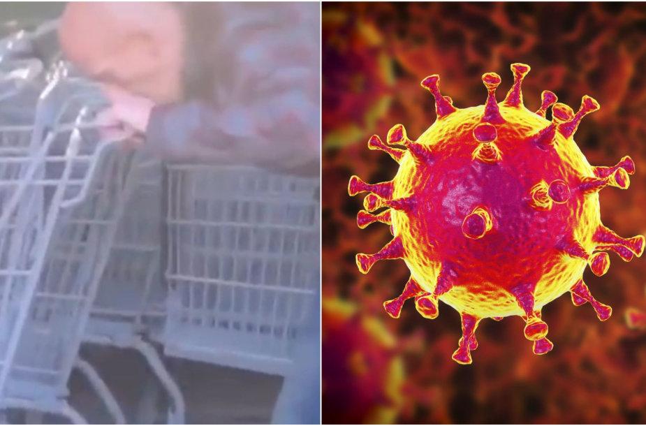 Vaizdo įraše rodomas vyras lyžteli prekybos centro vežimėlį