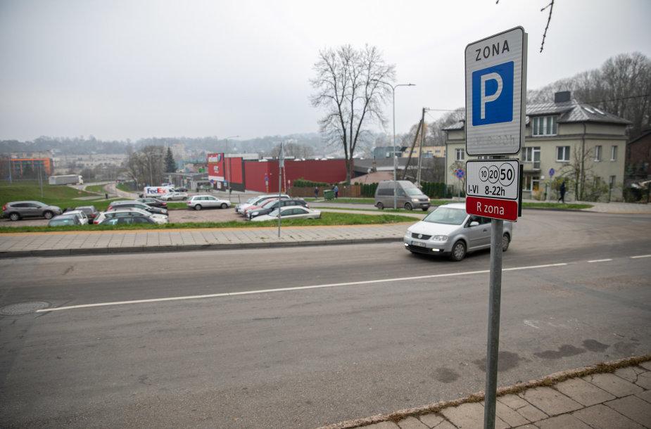 """Kelio ženklas """"Stovėjimo zona"""" Zarasų gatvė 5A"""