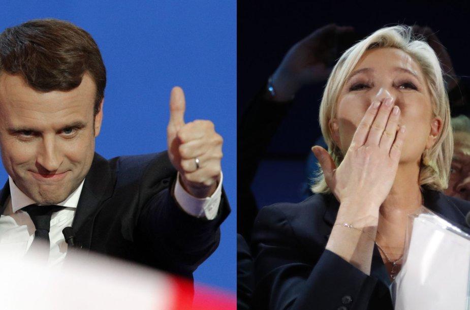 Emmanuelis Macronas ir Marine Le Pen
