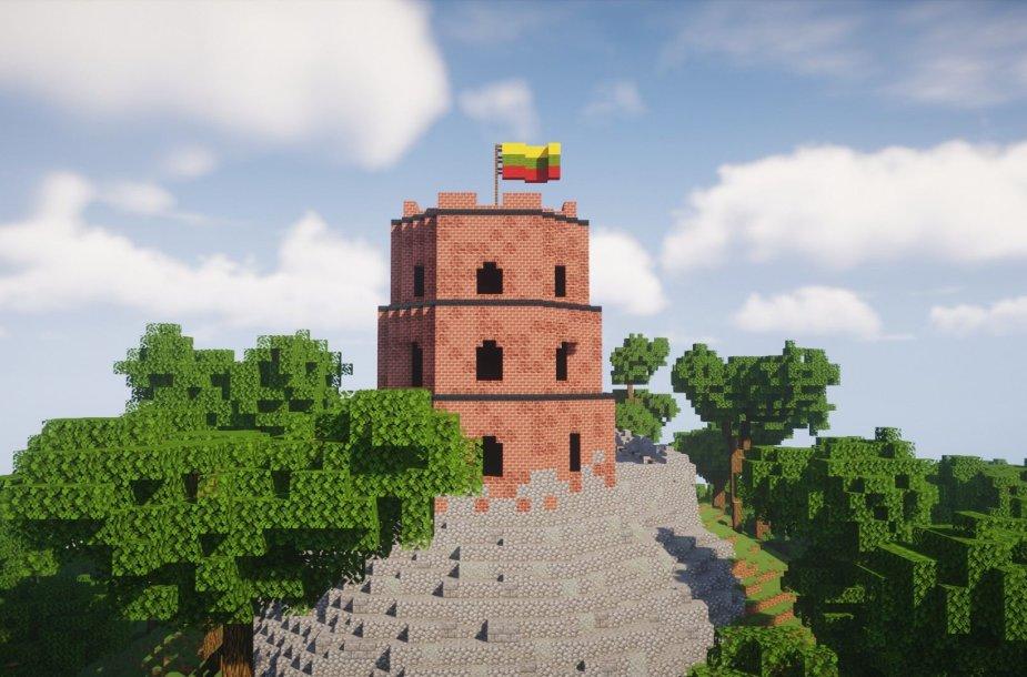 """Gedimino pilies bokštas žaidime """"Minecraft"""""""