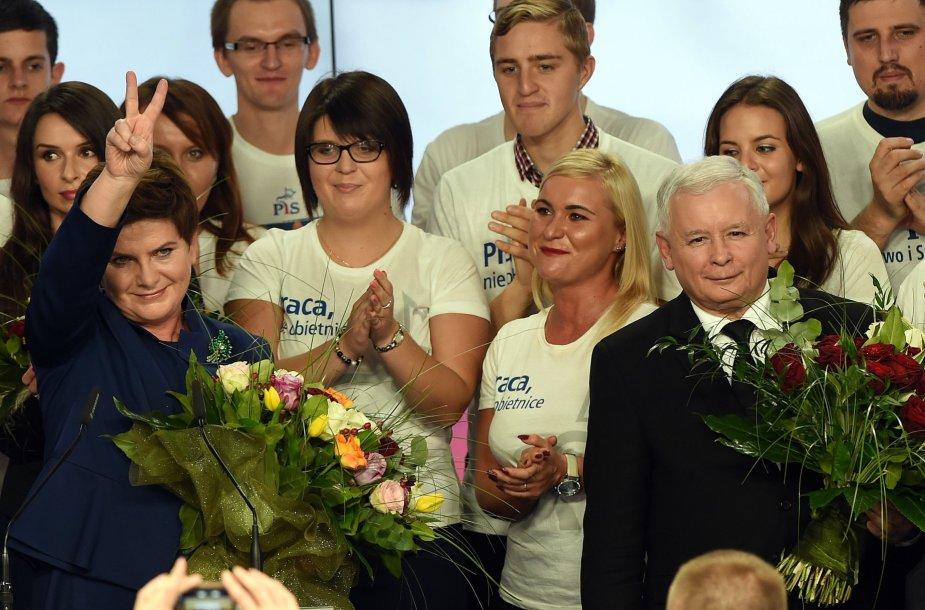 Beata Szydlo ir Jaroslawas Kaczynskis