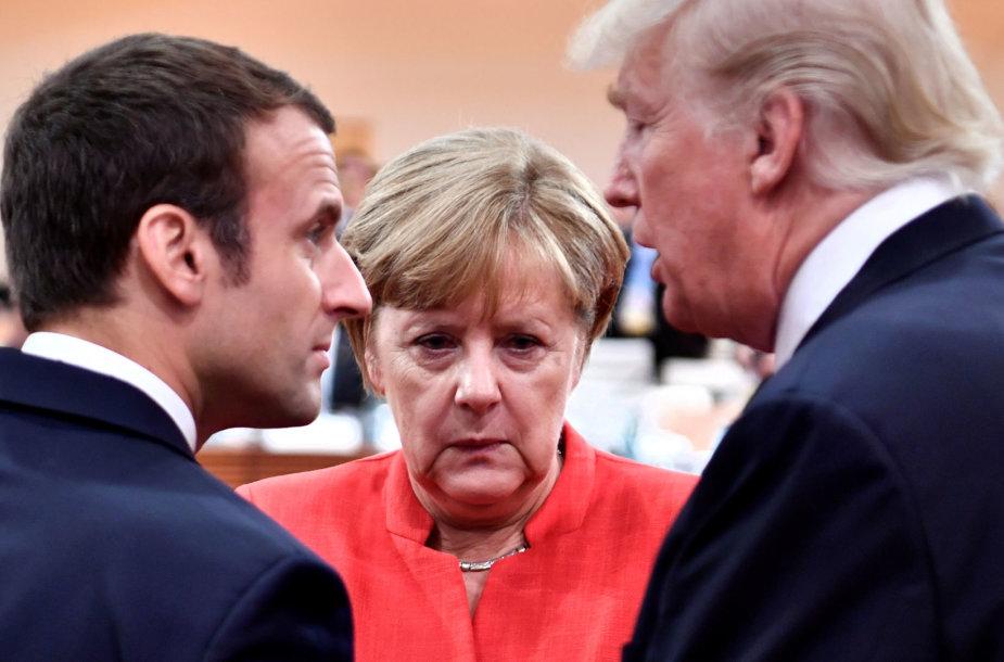 Emmanuelis Macronas, Angela Merkel ir Donaldas Trumpas