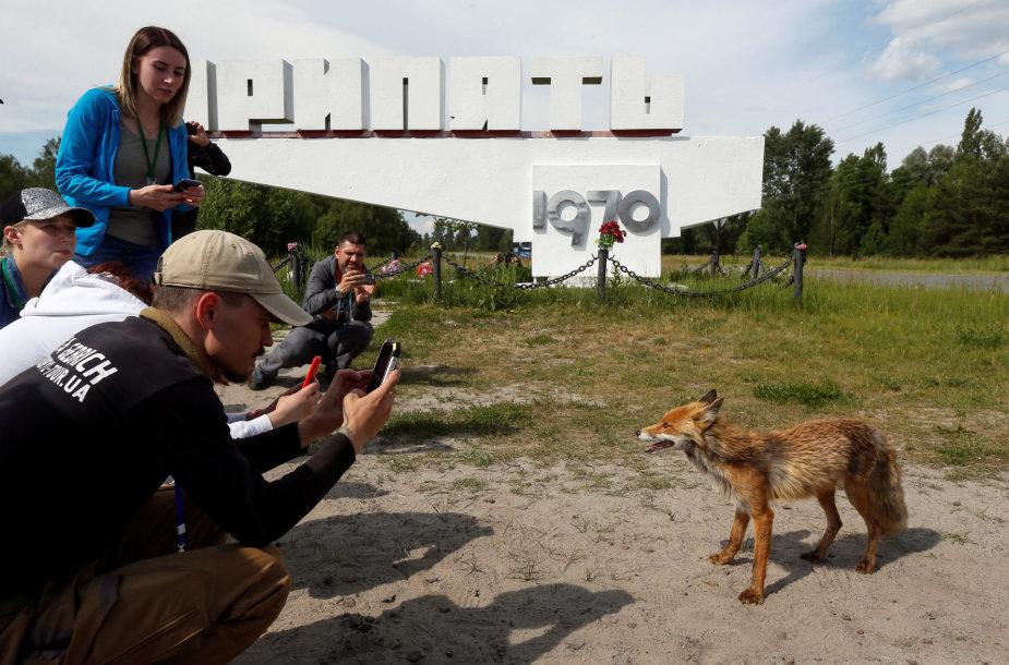 Turistai Černobylyje